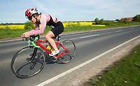 26 MAY 2013 - BRIGG, GBR - Lisa Maria Hirschfelder (U23) of SV Nikar / WSC Heidelberg leads on the bike at the 2013 Brigg Bomber Quadrathlon, a World Quadrathlon Federation World Cup round and the British Championships, held in Brigg, Lincolnshire, Great Britain (PHOTO (C) 2013 NIGEL FARROW)