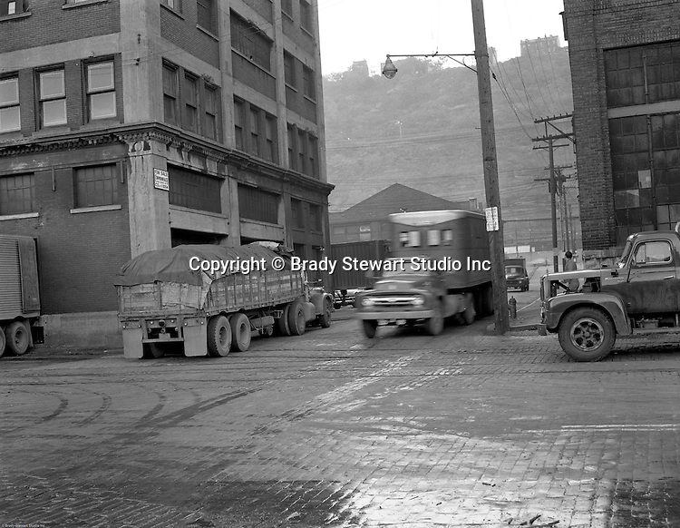 Pittsburgh PA - View of the produce yards Smallman and 17th Streets during the early morning rush.  On location assignment for Commonwealth Realty, selling the Thorofare warehouse building