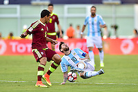 Foxborough, MA - Saturday June 18, 2016: Arquimedes Figuera, Lionel Messi prior to a Copa America Centenario quarterfinal match between Argentina (ARG) and Venezuela (VEN)  at Gillette Stadium.