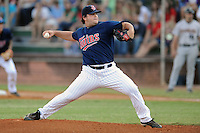 Elizabethton Twins starting pitcher Hudson Boyd #44 delivers a pitch during a game against the Greenville Astros at Joe O'Brien Field on August 21, 2012 in Elizabethton, Tennessee. The Twins  defeated the Astros 7-5 (Tony Farlow/Four Seam Images).