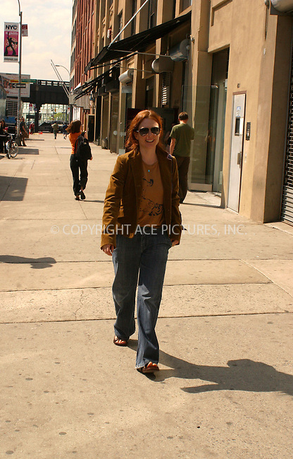WWW.ACEPIXS.COM . . . . .  ....NEW YORK, MAY 16, 2005....Julianne Moore seen walking in the meat packing district.....Please byline: PAUL CUNNINGHAM - ACE PICTURES..... *** ***..Ace Pictures, Inc:  ..Craig Ashby (212) 243-8787..e-mail: picturedesk@acepixs.com..web: http://www.acepixs.com