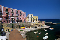 houses at the entry of the old Roman harbour, Ventotene island, Italy, Tyrrhenian Sea, Mediterranean
