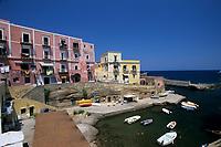 houses at the entry of the old Roman harbour, Ventotene island, Italy, Tyrrhenian Sea, Mediterranean