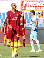 Roma's Steven Nzonzi gestures during the Italian Serie A football match between Roma and Lazio at Rome's Olympic stadium, September 29, 2018. Roma won 3-1.<br /> UPDATE IMAGES PRESS/Riccardo De Luca