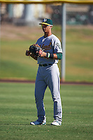 Oakland Athletics Steven Pallares (4) during an instructional league game against the Los Angeles Angels on October 9, 2015 at the Tempe Diablo Stadium Complex in Tempe, Arizona.  (Mike Janes/Four Seam Images)