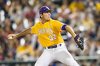 LSU Tigers pitcher Jesse Stallings (37) delivers a pitch to the plate against the TCU Horned Frogs in Game 10 of the NCAA College World Series on June 18, 2015 at TD Ameritrade Park in Omaha, Nebraska. TCU defeated the Tigers 8-4, eliminating LSU from the tournament. (Andrew Woolley/Four Seam Images)
