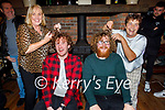 Brian O'Shea and Luke Fitzgerald from Currans having their heads shaved for their fundraiser for Kerry Parents and Friends Association in Currans on Saturday night with a helping hand from the moms Kay Fitzgerald and Annette O'Shea. L to r: Kay and Luke Fitzgerald, Brian and Annette O'Shea