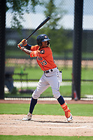 GCL Astros Yefri Carrillo (23) at bat during a Gulf Coast League game against the GCL Nationals on August 9, 2019 at FITTEAM Ballpark of the Palm Beaches training complex in Palm Beach, Florida.  GCL Nationals defeated the GCL Astros 8-2.  (Mike Janes/Four Seam Images)