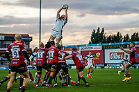 21st August 2020; Kingsholm Stadium, Gloucester, Gloucestershire, England; English Premiership Rugby, Gloucester versus Bristol Bears; Joe Joyce of Bristol takes i high catch