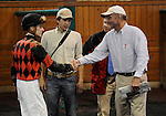 09 October 24: Trainer Edwin Merryman and jockey Joseph Rocco Jr. congratulate each other after Sarto wins the Find Handicap on Frank J. DeFrancis Memorial Dash Stakes Day at Laurel Park in Laurel, Maryland.