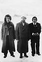 Iran 1946  In Mahabad, Qazi Mohammed, in the middle with left, Hajar Charafkandi and right, Hemen Mukriyani, 2 Kurdish Iranian poets.Iran 1946.A Mahabad, au centre Qazi Mohammed a gauche, Hajar Charafkandi et a droite, Hemen Mukriyani, 2 poetes kurdes iraniens