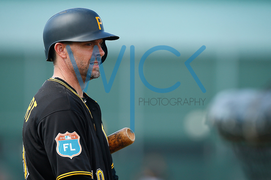 Chris Stewart #19 of the Pittsburgh Pirates works out during spring training at Pirate City in Bradenton, Florida on February 23, 2016. (Photo by Jared Wickerham / DKPS)