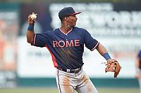 Rome Braves third baseman Darling Florentino (13) on defense against the Kannapolis Intimidators at Kannapolis Intimidators Stadium on April 7, 2019 in Kannapolis, North Carolina. The Intimidators defeated the Braves 2-1. (Brian Westerholt/Four Seam Images)