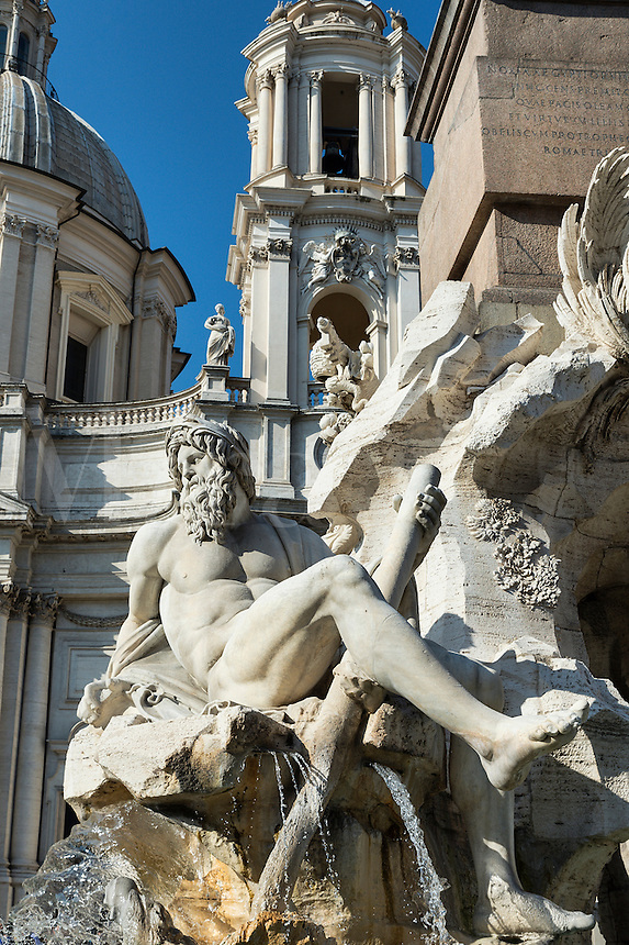 Fontana dei Quattro Fiumi located in the Piazza Navona, Rome, Italy