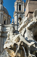 Fontana dei Quattro Fiumi located in the Piazza Navona, Rome, Italy