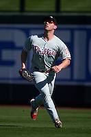 Glendale Desert Dogs outfielder Aaron Brown (31) catches a fly ball during an Arizona Fall League game against the Surprise Saguaros on October 23, 2015 at Salt River Fields at Talking Stick in Scottsdale, Arizona.  Glendale defeated Surprise 9-6.  (Mike Janes/Four Seam Images)