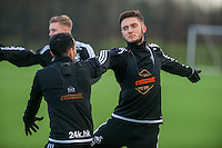 Wednesday  06 January 2016<br /> Pictured: Matt Grimes (R) of Swansea in action during training<br /> Re: Swansea City Training session at the Fairwood training ground, Swansea, Wales, UK