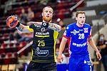 Patrick Zieker (TVB Stuttgart #25) ; Tobias Heinzelmann (HBW Balingen #28) ;  BGV Handball Cup 2020 Halbfinaltag: TVB Stuttgart vs. HBW Balingen-Weilstetten am 11.09.2020 in Ludwigsburg (MHPArena), Baden-Wuerttemberg, Deutschland<br /> <br /> Foto © PIX-Sportfotos *** Foto ist honorarpflichtig! *** Auf Anfrage in hoeherer Qualitaet/Aufloesung. Belegexemplar erbeten. Veroeffentlichung ausschliesslich fuer journalistisch-publizistische Zwecke. For editorial use only.
