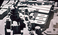 London: Paternoster Scheme--Arata Isozaki. Aerial view of model from east.  Reference only.