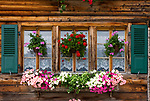 CHE, SCHWEIZ, Kanton Bern, Berner Oberland, Oberried am Brienzersee: blumengeschmuecktes Fenster | CHE, Switzerland, Bern Canton, Bernese Oberland, Oberried at Lake Brienz: flower decorated window