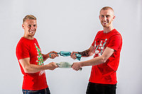 Wednesday 02 November 2016<br /> Pictured L-R: Stephen Kingsley and Ollie Mcburnie<br /> Re: Swansea City Christmas Photo shoot, Liberty Stadium, Wales, UK