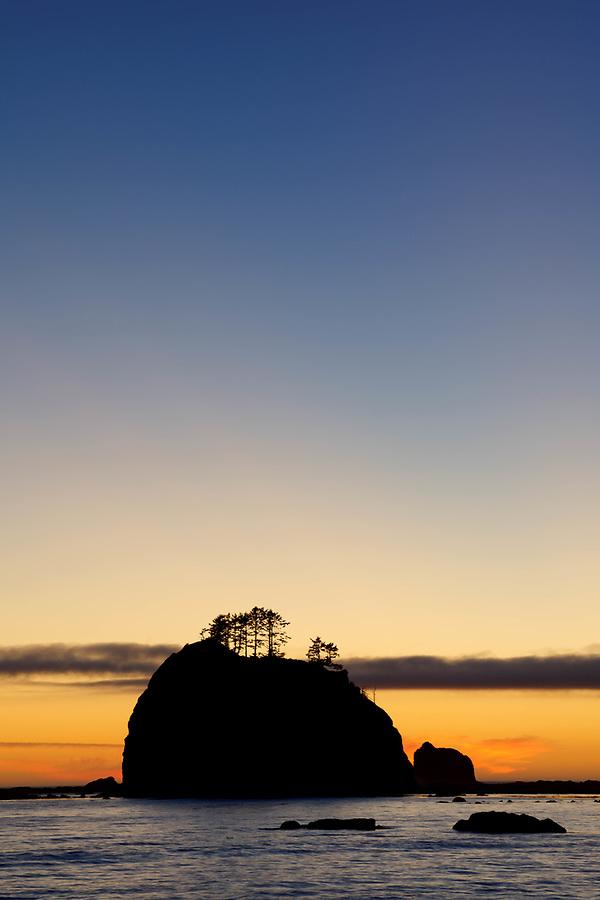Giants Graveyard sea stack on Washington Coast at sunset, near Strawberry Point, Olympic National Park, Washington, USA