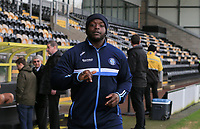 Adebayo Akinfenwa of Wycombe Wanderers arriving for the Sky Bet League 1 match between Burton Albion and Wycombe Wanderers at the Pirelli Stadium, Burton upon Trent, England on 26 December 2018. Photo by Leila Coker / PRiME Media Images.