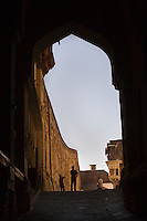 The LAHAPOL GATE or IRON GATE of MEHERANGARH FORT in JODHPUR - RAJASTHAN, INDIA