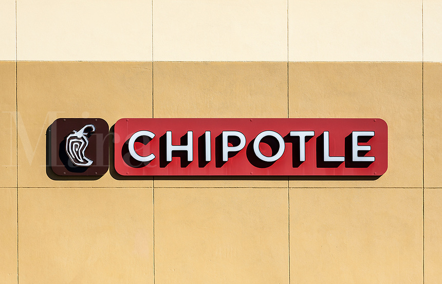 Chipotle Mexican Grill, logo and sign.