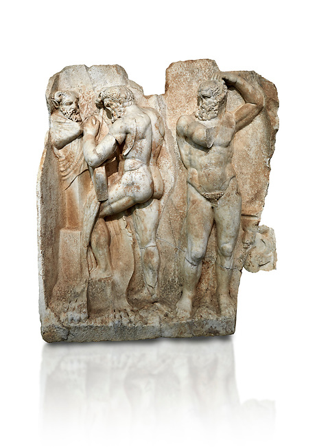 Roman Sebasteion relief sculpture of  Herakles is preparing to wrestle the Libyan giant Antaios. Aphrodisias Museum, Aphrodisias, Turkey.    Against a white background.<br /> <br /> Herakles (left) is taking off his bow case to hang it on a pillar statue. Antaios (right) is binding up his head with ear protectors, next to him stands an oil basin used in the palaistra (wrestling ground). Antaios was a famous wrestler who challenged and killed all visitors to his country, until he was defeated by Herakles.