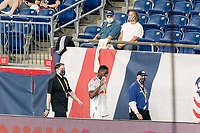 FOXBOROUGH, MA - MAY 22: Andres Reyes #4 of New York Red Bulls leaves after second yellow, red card ejection during a game between New York Red Bulls and New England Revolution at Gillette Stadium on May 22, 2021 in Foxborough, Massachusetts.