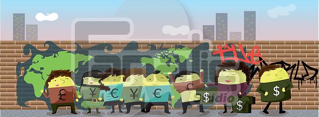 Illustration of money exchange