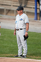 Hudson Valley Renegades manager Tim Parenton (12) during a game against the Batavia Muckdogs on July 31, 2016 at Dwyer Stadium in Batavia, New York.  Hudson Valley defeated Batavia 4-1.  (Mike Janes/Four Seam Images)