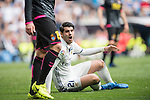 Alvaro Morata of Real Madrid lies on the pitch during the match Real Madrid vs RCD Espanyol, a La Liga match at the Santiago Bernabeu Stadium on 18 February 2017 in Madrid, Spain. Photo by Diego Gonzalez Souto / Power Sport Images