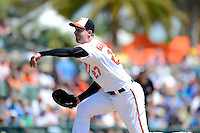 Baltimore Orioles pitcher Mark Hendrickson #27 during a Spring Training game against the New York Mets at Ed Smith Stadium on March 30, 2013 in Sarasota, Florida.  (Mike Janes/Four Seam Images)