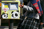 Mailbox decorated with images of new giant panda cub Xiang Xiang and her mother is seen outside a post office in Ueno on December 19, 2017, Tokyo, Japan. To celebrate Ueno Zoo's new panda cub, some stores and shops in Ueno are posting congratulatory messages. Approximately 1,400 visitors came to see the cub on the day of her public debut. (Photo by Rodrigo Reyes Marin/AFLO)