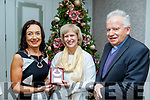 Marie O'Sullivan, left, president of the Kerry Archaeological&Historical Society presenting Patricia O'Hare from Killarney with the 2019 Kerry Heritage Award in the Rose hotel, Tralee last Sunday Nov 24, also pictured is former bishop of Kerry Dr Bill Murphy.