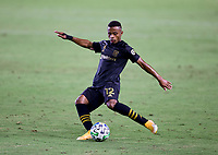 CARSON, CA - SEPTEMBER 06: Diego Palacios #12 of LAFC crosses a ball during a game between Los Angeles FC and Los Angeles Galaxy at Dignity Health Sports Park on September 06, 2020 in Carson, California.