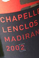 Bottle of detail of label Chapelle Lenclos Madiran France