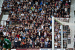 Heart of Midlothian 1 Birkirkara 2, 21/07/2016. Tynecastle Park, UEFA Europa League 2nd qualifying round. Home supporters in the Wheatfield stand at Tynecastle Park, Edinburgh react to Prince Baboon's first-half penalty miss as Heart of Midlothian played Birkirkara of Malta in a UEFA Europa League 2nd qualifying round, second leg. The match ended in victory for the Maltese side by 2-1 and they progressed on aggregate after the first match had ended 0-0. The game was watched by 14301 spectators, including 56 visiting fans of Birkirkara. Photo by Colin McPherson.