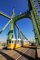 Trams on the Liberty or Freedom Bridge (Szabadság híd,). Budapest, Hungary
