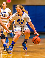 24 November 2015: Yeshiva University Maccabee Forward Julia Owen, a Senior from Seattle, WA, in action against the College of Mount Saint Vincent Dolphins at the Baruch College ARC Arena Gymnasium, in New York, NY. The Dolphins defeated the Maccabees 67-30 in the NCAA Division III Women's Basketball Skyline matchup. Mandatory Credit: Ed Wolfstein Photo *** RAW (NEF) Image File Available ***