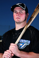 March 1, 2010:  Outfielder Travis Snider (45) of the Toronto Blue Jays poses for a photo during media day at Englebert Complex in Dunedin, FL.  Photo By Mike Janes/Four Seam Images