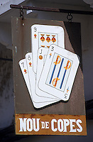 Europe/Espagne/Baléares/Minorque/Mahon : Enseigne d'un café - Jeu de cartes