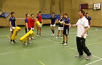 Photo: Richard Lane/Richard Lane Photography. RFU Rugby Fitness for Young Players Ð a pilot continuing professional development event at Warwick School. 06/01/2011. .Simon Worsnop - RFU National Academy Head of Fitness presents Conditioned games.