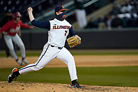 Pitcher Joseph Glassey (20) of the Illinois Fighting Illini in a game against the Ohio State Buckeyes on Friday, March 5, 2021, at Fluor Field at the West End in Greenville, South Carolina. (Tom Priddy/Four Seam Images)