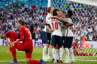 7th July 2021, Wembley Stadium, London, England; 2020 European Football Championships (delayed) semi-final, England versus Denmark; Englands players celebrate Denmarks own goal during the semifinal between England and Denmark