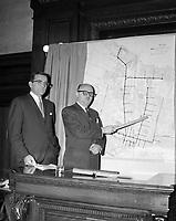 Lancement des plans du futur métro / Jean-Paul Gill, le 20 octobre 1961. VM94-Z1473-10. Archives de la Ville de Montréal.