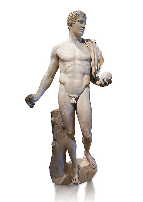 Diomedes - A 2nd or 3rd century AD Roman copy of a Greek classical sculpture from about 430-370 BC. This Roman statue represent Diomede, one of the Greek hero of the Trojan War. This statue belongs to a series of ancient replicas (Naples, Munich), which copy the original Greek statue from the school of Polykleitos, attributed to the sculptor Naucydes or Cresilas who worked in Athens to 440-430 BC. From the Cardinal Richelieu Collection  Inv MR 265   (or Ma 890), The Louvre Mueum, Paris.