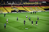 4th November 2020; Vicarage Road, Watford, Hertfordshire, England; English Football League Championship Football, Watford versus Stoke City; Watford players warm up ahead of Kick Off.